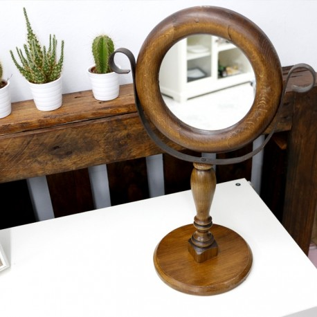 Espejo de mesa en cristal y madera for Espejo en el movil