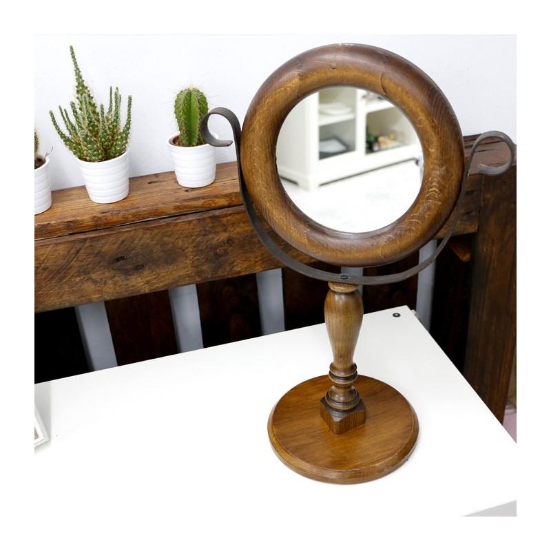 Espejo de mesa en cristal y madera wirin art for Espejos para mesa